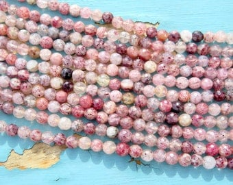 15.5 Inch Strand of Cherry Quartz - 6mm - Faceted - Mixed Color Strand - Jewelry Supplies by Zardenia