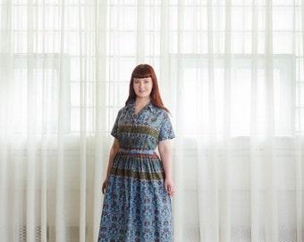 35% OFF - Vintage 1950s Dress - Folk Print 50s Dress - Me Myself & I Dress