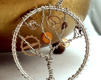 Time Tree steampunk wire wrapped pendant