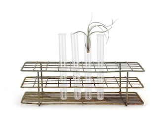 vintage industrial wire test tube rack / holder