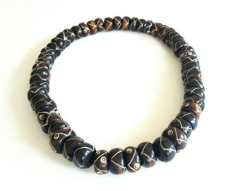 Men's large horn bead necklace- mens dark brown necklace-The Waseyu no 25