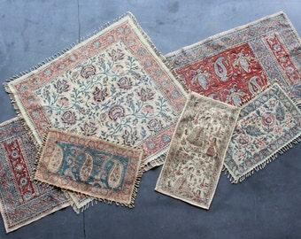5 Vintage Persian Block Print  Runner, Scarf, And Mats
