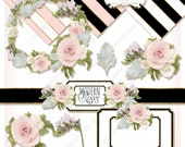 Hand Painted Clipart, Rose Wreath, Succulent Leaf, Digital Clip Art, Digital Clipart, Wedding Clipart, Original Artwork, Freesias E15-21A