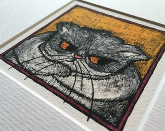 Cat Print, Gift for Cat Lover, Grumpy Grey and White Cat Archival Quality Giclée Print, Cat Lady Gift, Cat Picture, Mardy Cat
