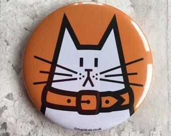 Cat Pocket Mirror - hand pressed orange mirror featuring Dave