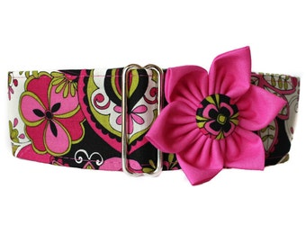 2 inch Martingale Collar, Pink Martingale Collar and Collar Flower, Pink Dog Collar, Greyhound Martingale Collar, Dog Collar Flower