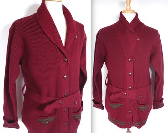 Rare Vintage 1920s Shawl Collar Sweater // 20s 30s Burgundy and Forest Green Stripe Wool Cardigan // Belted Varsity Sweater