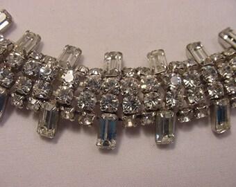 Vintage Rhinestone Bracelet With Safety Chain    16 - 10