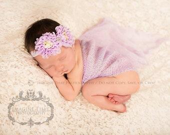 Shabby Rose Headband  christening headband  baptism headband  newborn headand