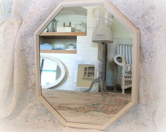 Octagon Wall Mirror, Vintage Antique White Mirror, Large Shabby Chic Mirror