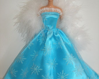 """Handmade 11.5"""" fashion Barbie doll clothes - aqua blue satin and white glittery snowflakes tulle gown with boa"""
