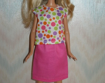 """Handmade 11.5"""" fashion doll clothes - white and multi color dots print top and pink knee length skirt"""