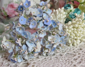 Vintage Velvet Flocked Millinery Flowers-Bunch-Mixed Media-Altered Art-Corsage-Supplies-Periwinkle Blue