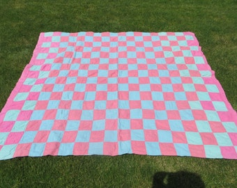 Vintage Circa 1930's Cutter Quilt-Aqua and Red-Hand Quilted
