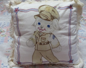 Vintage Tinted Vogart Embroidered Pillow Cover-Pillow Top-Feedsack-Puppies-War-Soilder Bear-Nursery