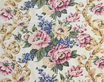 Beautiful Floral Vintage Barkcloth Fabric Piece-Nubby-Roses-36x30