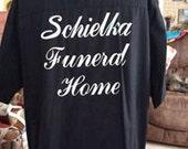 Vintage 1980s Shirt Bowling Menswear Schielka Funeral Home Cotton/Poly Black Lime Green