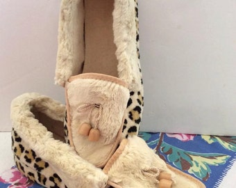 Vintage 1950s Slippers Bedroom Slippers Faux Fur Leopard Print Soft Comfy Cozy