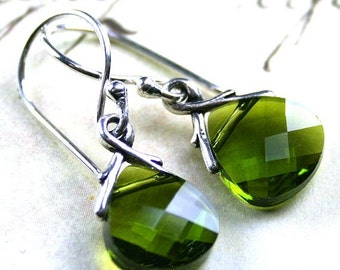ON SALE Swarovski Crystal Briolette Earrings in Olivine Green - Handmade with Swarovski Crystal and Sterling Silver