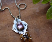 Reserved for Jen - SALE - A Necklace for the Wanderess - Rose Cut Amethyst & Golden Topaz Beads in Silver - Turkish, Moroccan, Ethnic, OOAK