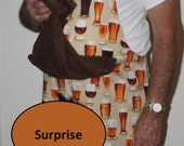 Mens Adult Novelty BEER MUG BBQ Apron w/ X-Rated Penis Hidden Under Attached Towel