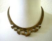 Vintage 70s Minimalist Brass Choker Collar - 1970s Boho Chic Metal Collar Necklace - Brutalist Brass Necklace - Modernist Collar Necklace