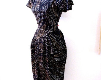 Vintage 1980s Black Glittery Party Dress - 80s Black Sparkly Cocktail Party Dress - Black Evening Dress w Flutter Sleeves - Size Small 7/8