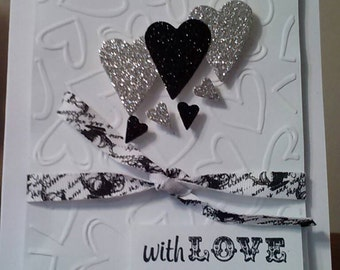 With Love Valentine's Day Card (Black and Silver Glitter)