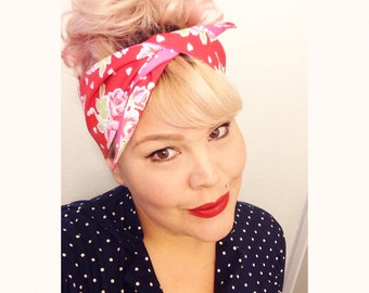 Vintage Inspired Headscarf, Red Floral Print with Hearts, Pink Polka Dots, Retro, Rockabilly