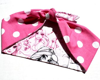 Princess Reversible Headscarf, Pink Polka Dots