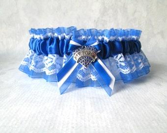 Military Air Force Wedding Garter - Air Force Garter - Something Blue garter.