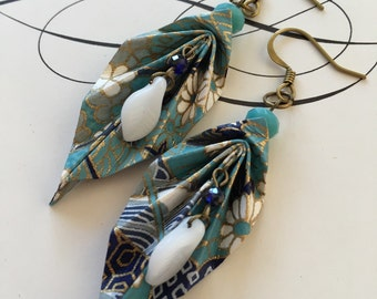 Oriental blues- origami leaf earrings