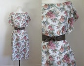 vintage 1980s floral dress - COTTAGE ROSE tent dress / L