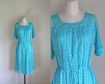 vintage 1970s crochet dress - HACIENDA SKY blue boho dress / L
