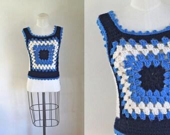 vintage 1970s sweater vest - BRISK AIR blue crochet top / XS-S-M