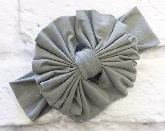 Messy Bow Head Wrap in Cloud Gray Cozy Cotton