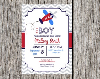 Airplane Baby Shower Invitation, airplane, boy invitation, baby shower, DIY, printable and custom