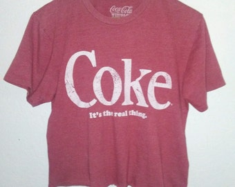 Coke / Crop T Shirt / Cropped Tee / Half Tee / Belly Tee / Graphic Top / Distressed / Indie / Grunge / Rock N Roll / Boho / Festival