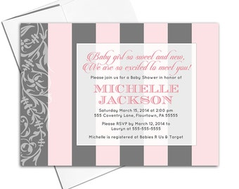 girl baby shower invitations printed or printable, pink gray baby shower invites girl, modern baby shower, striped invitations - WLP00703