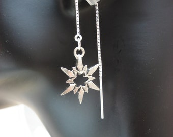 Pewter Stars on Sterling Ear Threads- Threader Earrings/Necklace-FREE SHIPPING To U.S.