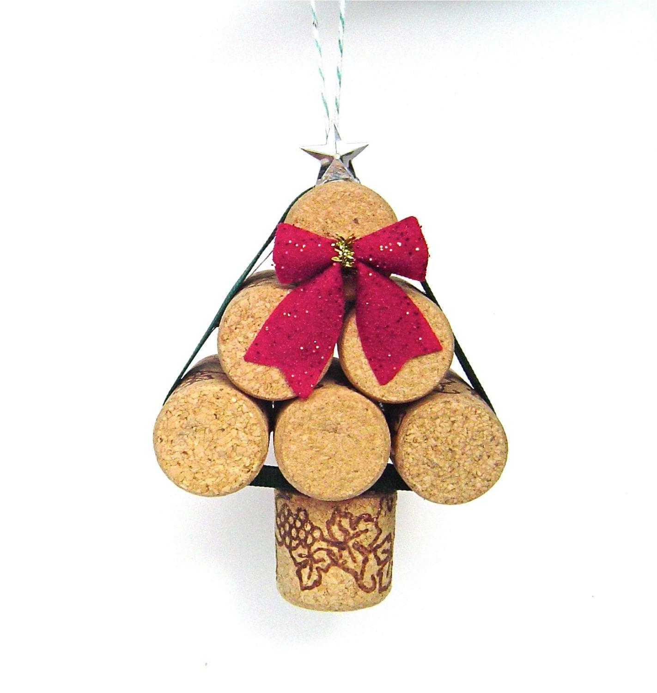 wine cork christmas tree ornament rustic mini by. Black Bedroom Furniture Sets. Home Design Ideas