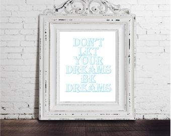 Jack Johnson Lyrics  DIGITAL DOWNLOAD PRINT -  Dreams Inspirational poster typography, mottos, gift idea, blue white love quote wall music