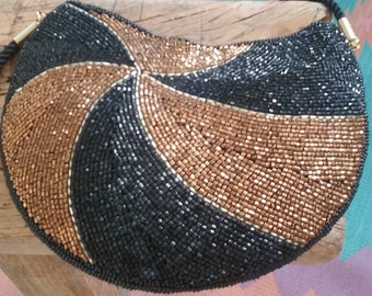 80s LAMY—Small Beaded Evening Bag—Black and Bronze—Pinwheel Design—Mint