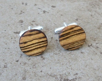 Cufflinks, Bocote Wood Cuff links, 5th Anniversary Gifts, Wedding Gifts, Groomsmen Gifts, Fathers day, Bosses Gifts, Gift Box ready - 922
