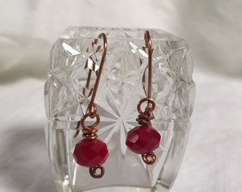 Deep Red Copper Earrings