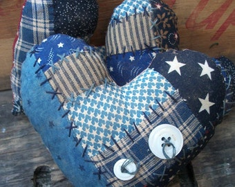Primitive Blue Patchwork Heart Americana patriotic bowl fillers