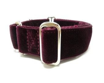 "Houndstown 1.5"" Burgundy Velvet Unlined Martingale Collar Size Large"