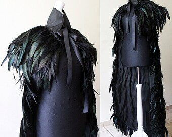 Steampunk BROWN Feather cloak with pelerine