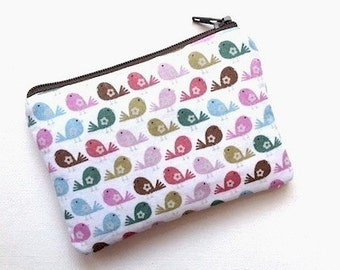 Birds Zipper Pouch Coin Purse Card Case Change Purse Cosmetic Small Camera Bag Padded Gadget Case- BIRDS White Pink Greens
