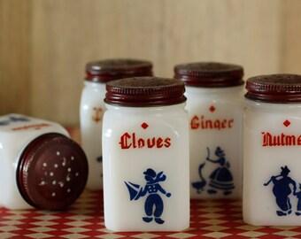 Antique White Milk Glass SPICE JARS, McKee Tipp City Dutch Windmill Spice Shakers, Frank's Dove Spice Jars 1930s Kitchen Range Set-Shakers